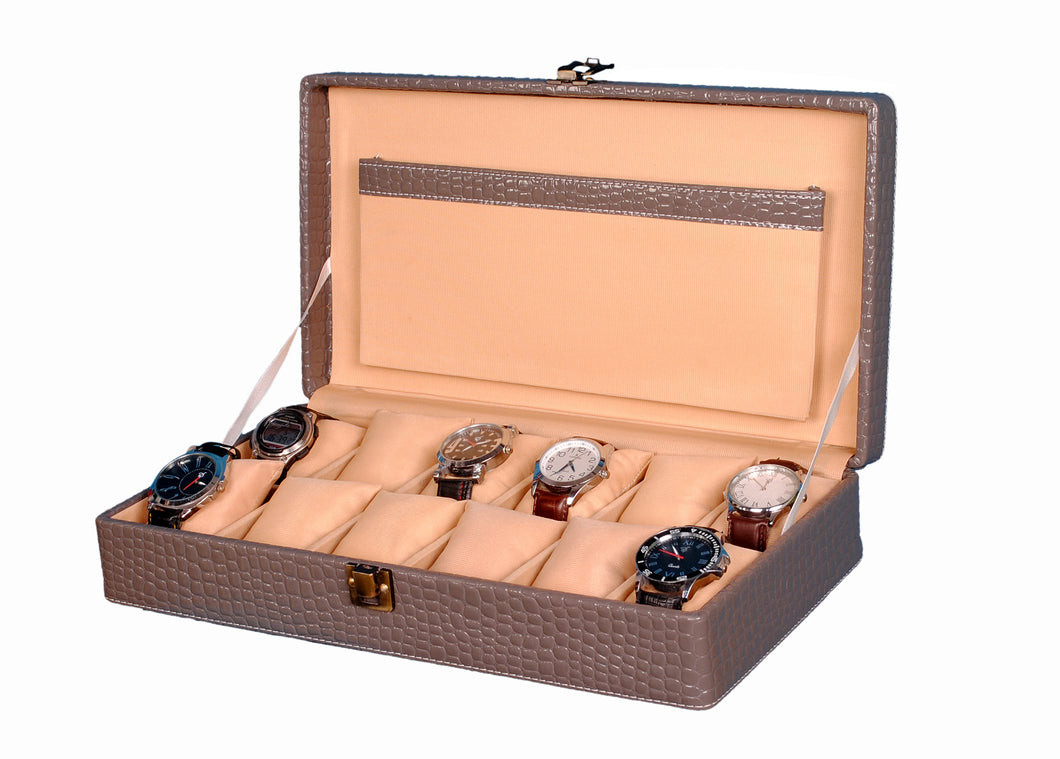 Hard Craft Watch Box Case PU Leather for 12 Watch Slots - Grey Croco