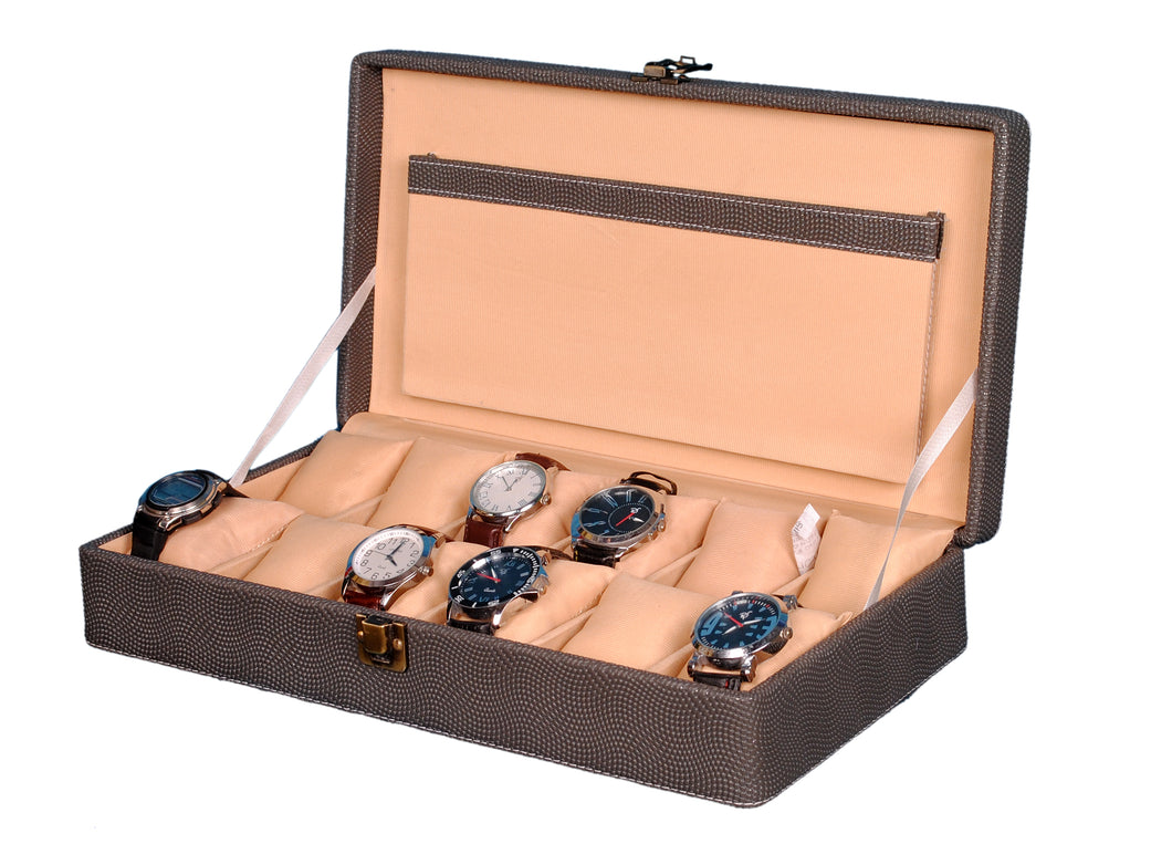 Hard Craft Watch Box Case PU Leather for 12 Watch Slots - Dotted Grey