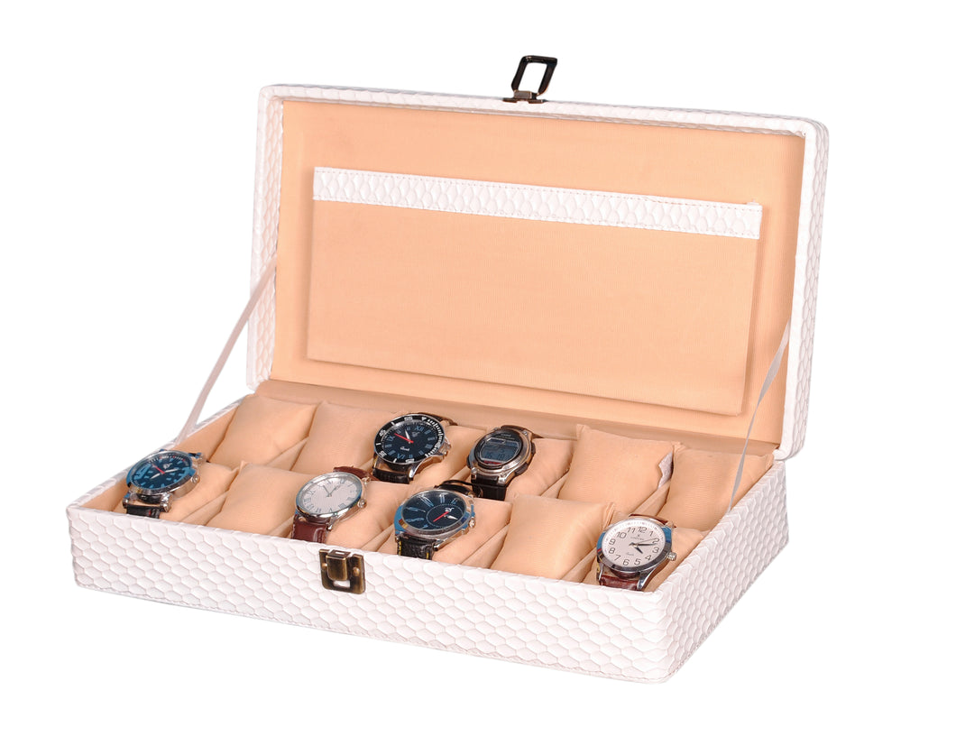 Hard Craft Watch Box Case PU Leather for 12 Watch Slots - White Matt