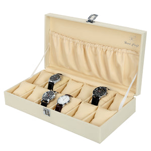 Hard Craft Watch Box Case PU Leather for 12 Watch Slots with Lightning Print