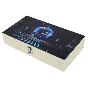 Hard Craft Watch Box Case PU Leather for 12 Watch Slots with Time Machine Print