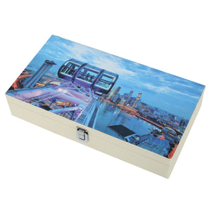 Hard Craft Watch Box Case PU Leather for 12 Watch Slots with Skyscraper Print