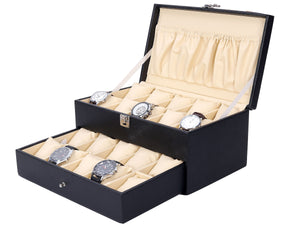 Hard Craft Watch Box Case PU Leather for 20 Watch Slots - Black