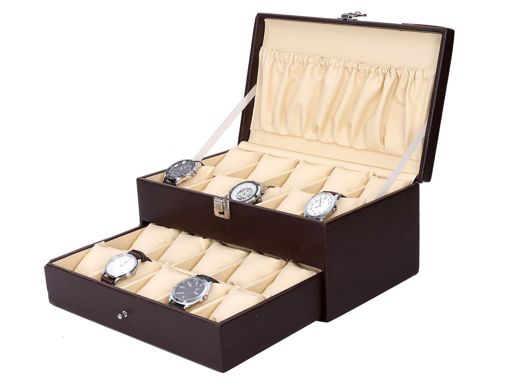 Hard Craft Watch Box Case PU Leather for 20 Watch Slots - Brown