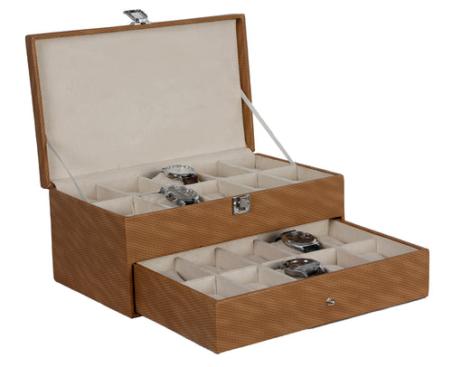 Hard Craft Watch Box Case PU Leather for 20 Watch Slots - Shaded Brown