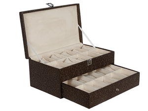 Hard Craft Watch Box Case PU Leather for 20 Watch Slots - Golden Brown
