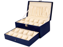 Load image into Gallery viewer, Hard Craft Watch Box Case PU Leather for 20 Watch Slots - Blue