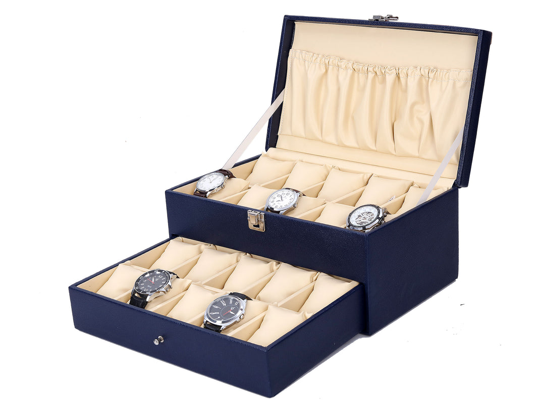 Hard Craft Watch Box Case PU Leather for 20 Watch Slots - Blue