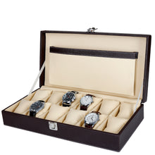Load image into Gallery viewer, Hard Craft Watch Box Case PU Leather for 12 Watch Slots - Brown