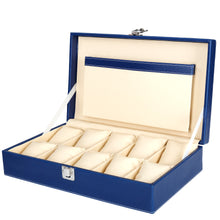 Load image into Gallery viewer, Hard Craft Watch Box Case PU Leather for 10 Watch Slots - Blue