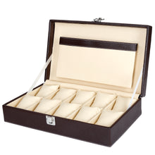 Load image into Gallery viewer, Hard Craft Watch Box Case PU Leather for 10 Watch Slots - Brown