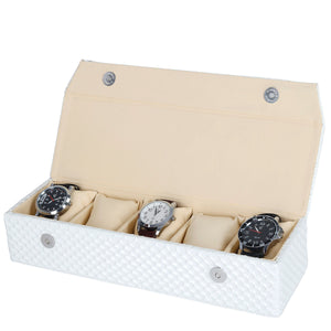 Hard Craft Watch Box Organizer for 5 Watch Slots - White Mat