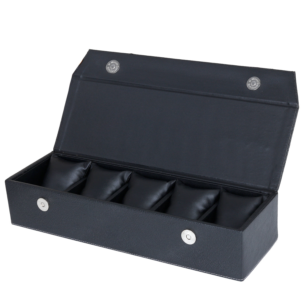 Hard Craft Watch Box Organizer PU Leather for 5 Watch Slots - Black