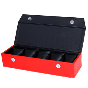 Hard Craft Watch Box Organizer PU Leather for 5 Watch Slots - Black Red