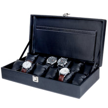 Load image into Gallery viewer, Hard Craft Watch Box Case PU Leather for 12 Watch Slots - Black