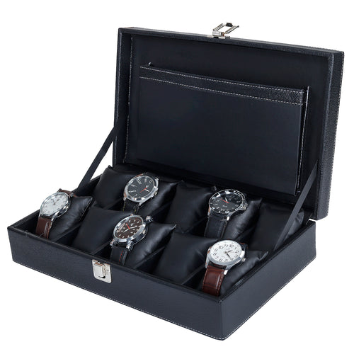 Hard Craft Watch Box Case PU Leather for 10 Watch Slots - Black