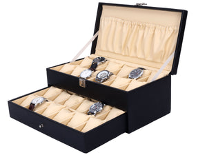 Hard Craft Watch Box Case PU Leather for 24 Watch Slots - Black