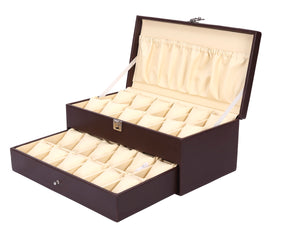 Hard Craft Watch Box Case PU Leather for 24 Watch Slots - Brown