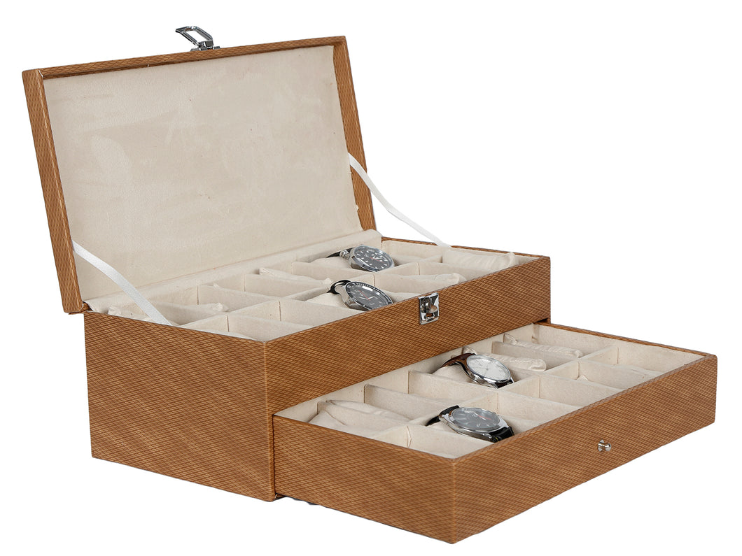 Hard Craft Watch Box Case PU Leather for 24 Watch Slots - Shaded Brown