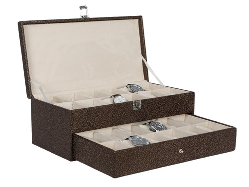 Hard Craft Watch Box Case PU Leather for 24 Watch Slots - Golden Brown