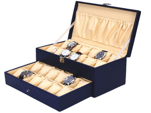 Hard Craft Watch Box Case PU Leather for 24 Watch Slots - Blue