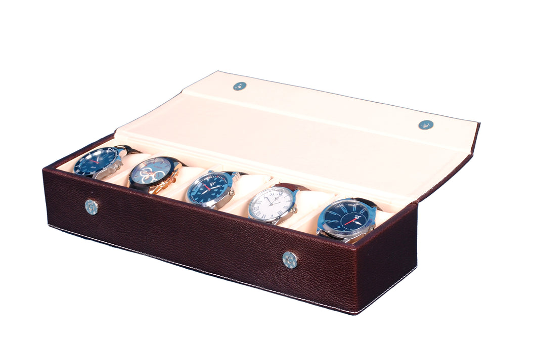 Hard Craft Watch Box Organizer PU Leather for 5 Watch Slots - Brown