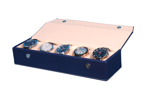Hard Craft Watch Box Organizer PU Leather for 5 Watch Slots - Blue