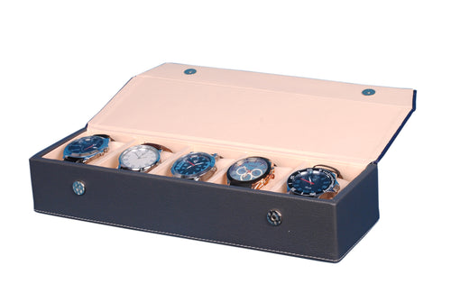 Hard Craft Watch Box Organizer PU Leather for 5 Watch Slots - Blue Grey