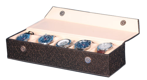 Hard Craft Watch Box Organizer PU Leather for 5 Watch Slots - Golden Brown