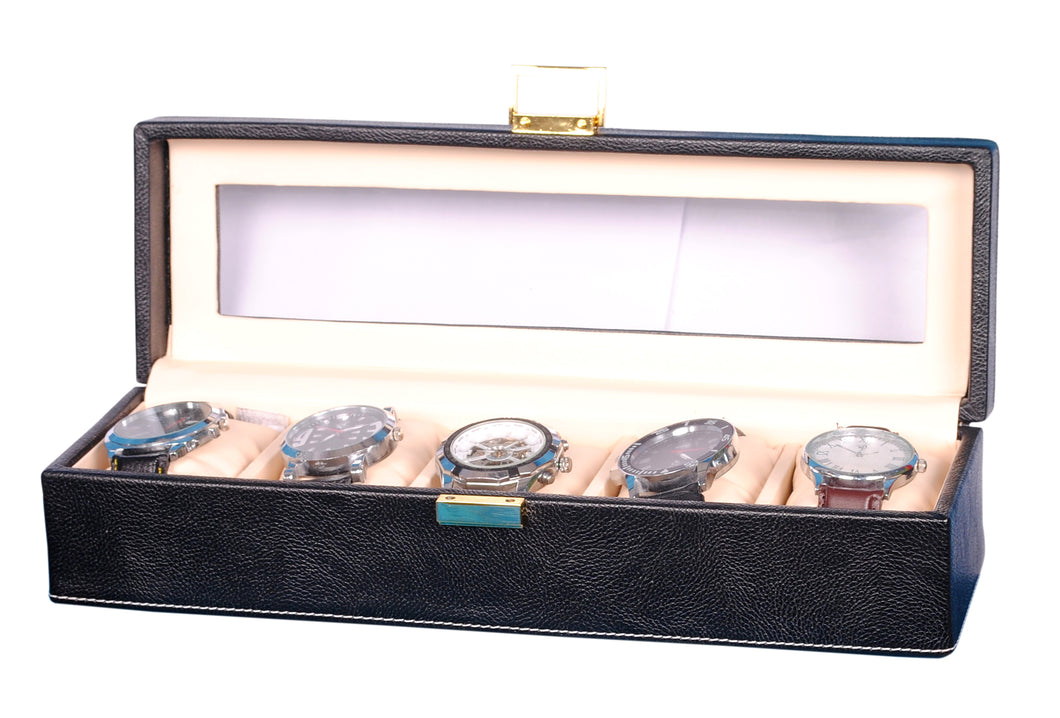 Hard Craft Watch Box Transparent Organizer PU Leather for 5 Watch Slots - Black