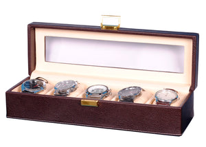 Hard Craft Watch Box Transparent Organizer PU Leather for 5 Watch Slots - Brown