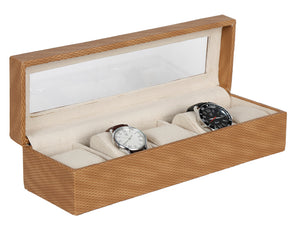 Hard Craft Watch Box Transparent Organizer PU Leather for 5 Watch Slots - Shaded Brown