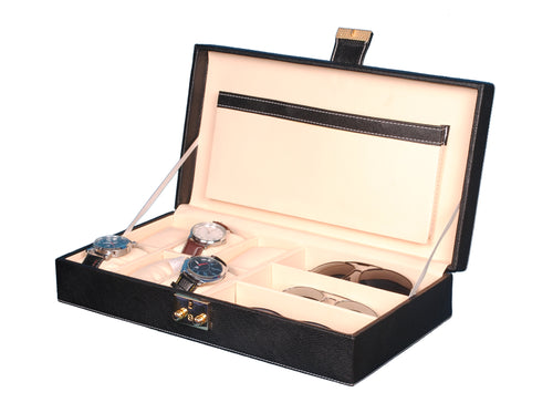 Hard Craft Watch Box Case PU Leather for 6 Watch Slots and Sunglasses Customize Organizer - Black