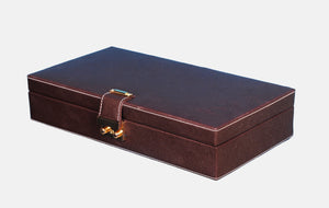 Hard Craft Watch Box Case PU Leather for 6 Watch Slots and Sunglasses Customize Organizer - Brown