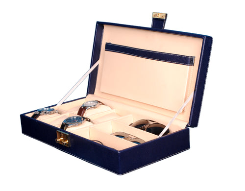 Hard Craft Watch Box Case PU Leather for 6 Watch Slots and Sunglasses Customize Organizer - Blue