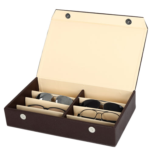 Hard Craft Sunglass Storage Organizer Vegan Leather for 8 sunglass slots - Brown