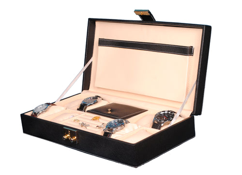 Hard Craft Watch Box Organizer PU Leather for 8 Watch Slots with Jewellery ring organizer - Black