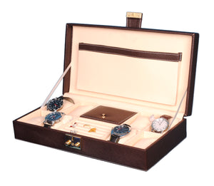 Hard Craft Watch Box Organizer PU Leather for 8 Watch Slots with Jewellery ring organizer - Brown