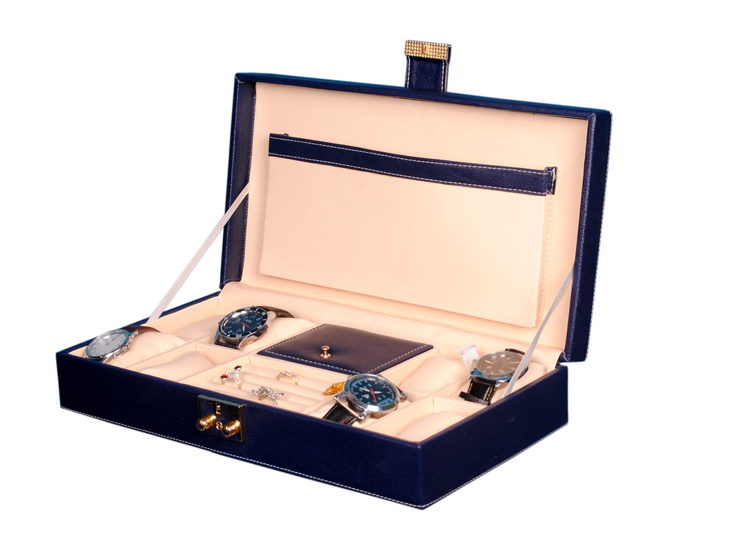 Hard Craft Watch Box Organizer PU Leather for 8 Watch Slots with Jewellery ring organizer - Blue