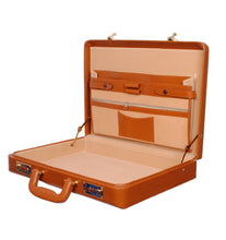 Load image into Gallery viewer, Hard Craft Vegan Leather Briefcase Attache Golden Combination - Rust
