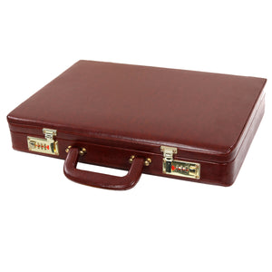 Hard Craft Vegan Leather Briefcase Attache Golden Combination - Maroon