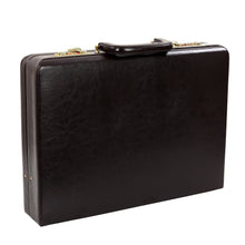 Load image into Gallery viewer, Hard Craft Vegan Leather Briefcase Attache Golden Combination - Chocolate Brown