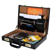 Load image into Gallery viewer, Hard Craft Vegan Leather Executive Briefcase Attache Golden Combination - Black