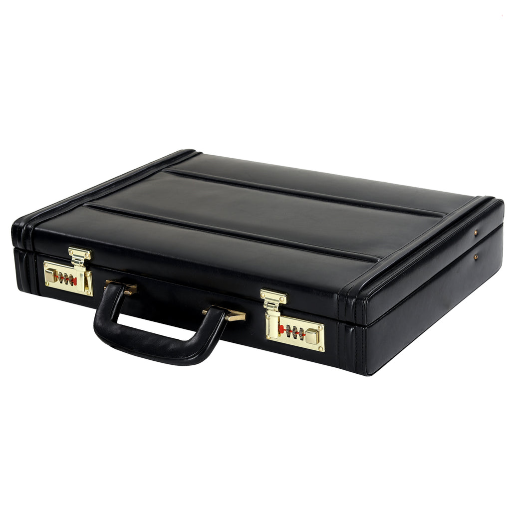 Hard Craft Vegan Leather Executive Briefcase Attache Golden Combination - Black