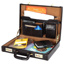 Load image into Gallery viewer, Hard Craft Vegan Leather Executive Briefcase Attache Golden Combination - Chocolate Brown