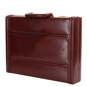 Hard Craft Vegan Leather Executive Briefcase Attache Golden Combination - Maroon