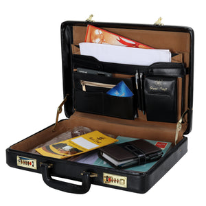 Hard Craft Vegan Leather Premium Briefcase Attache Golden Combination - Black