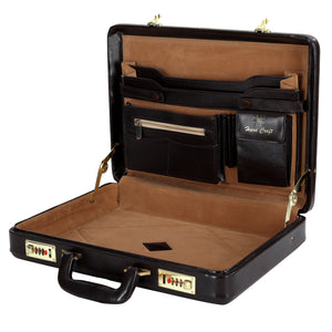Hard Craft Vegan Leather Premium Briefcase Attache Golden Combination - Chocolate Brown