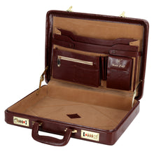 Load image into Gallery viewer, Hard Craft Vegan Leather Premium Briefcase Attache Golden Combination - Maroon