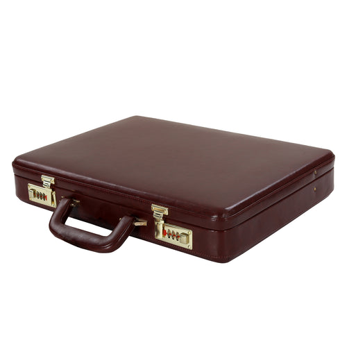 Hard Craft Vegan Leather Premium Briefcase Attache Golden Combination - Maroon